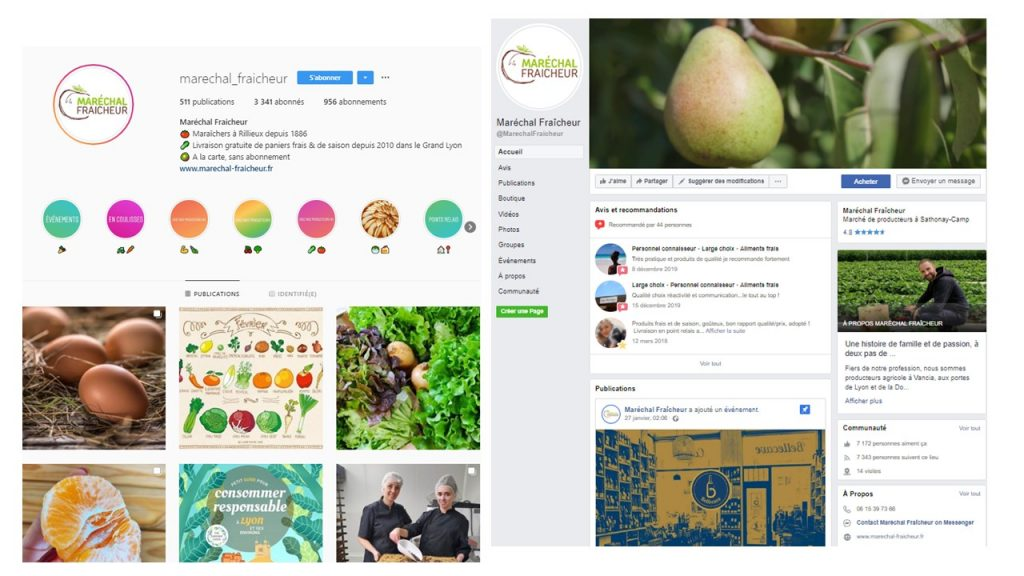 Instagram et Facebook Maréchal Fraicheur
