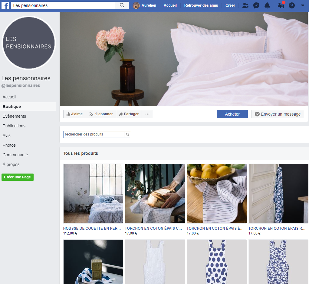Boutique de page Facebook