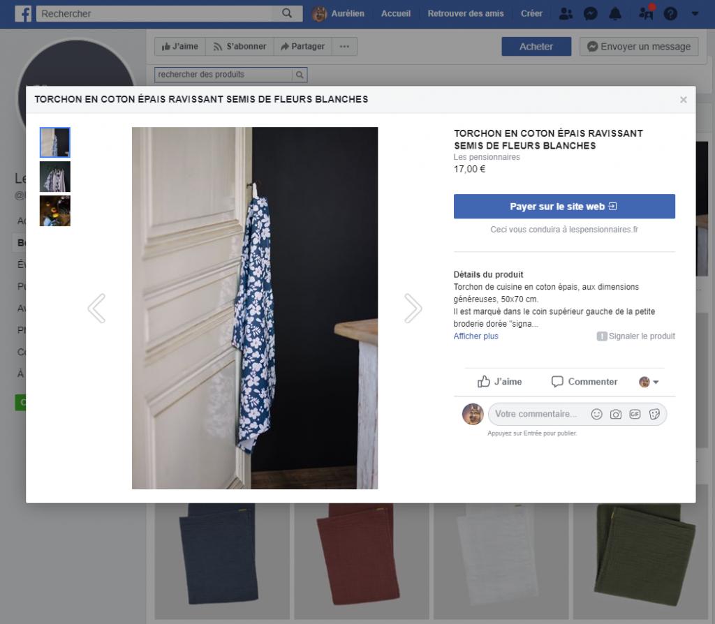 Boutique de page Facebook fiche produit