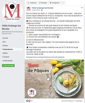 L'Hôtel Auberge des Murets propose à ses clients de continuer à déguster ses menus grâce à des plats à emporter présentés sur sa page Facebook